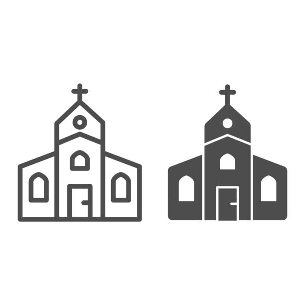 ilustrações de stock, clip art, desenhos animados e ícones de church line and solid icon, christmas concept, religious temple sign on white background, house of god icon in outline style for mobile concept and web design. vector graphics. - isolated house, exterior