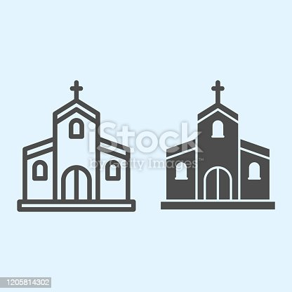 Church line and solid icon. Orthodox christian building with cross on top. Wedding asset vector design concept, outline style pictogram on white background, use for web and app. Eps 10