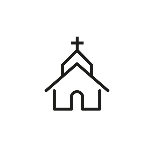 Church line icon Line icon of church. Cathedral, famous place pointer, Christianity. Religion concept. Can be used for signboards, poster, brochure pictograms church stock illustrations