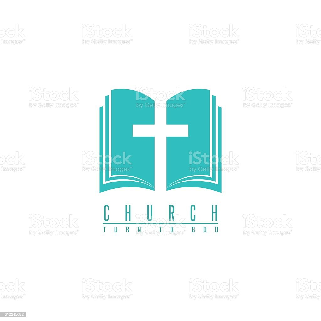 Church logo, cross and abstract bible religion symbol, faith icon vector art illustration