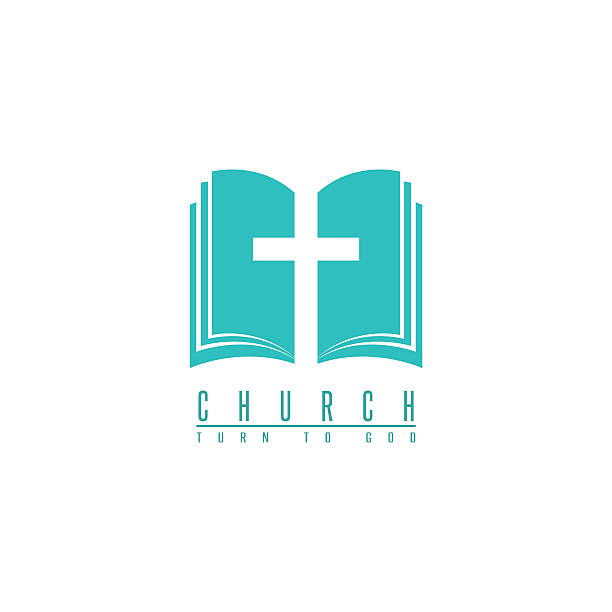 ilustrações de stock, clip art, desenhos animados e ícones de church logo, cross and abstract bible religion symbol, faith icon - evangelho