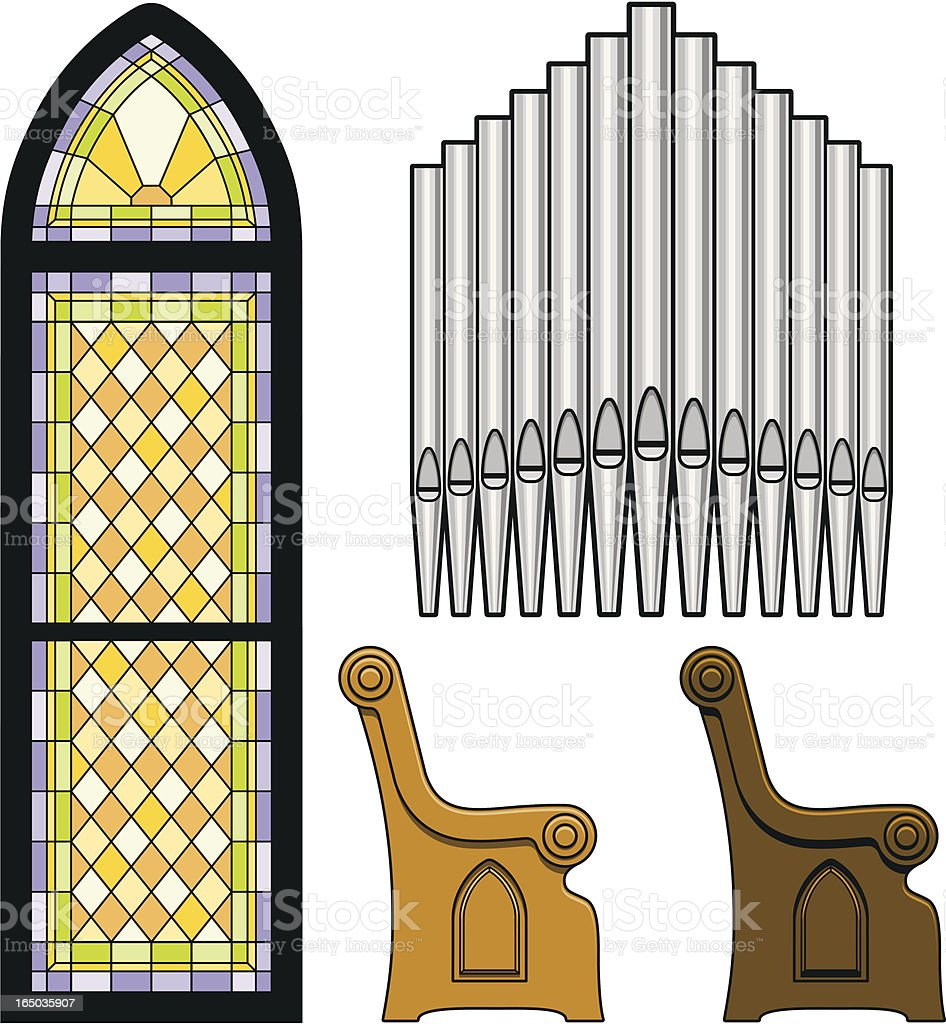 Church Objects vector art illustration