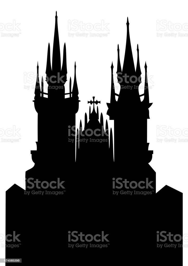 Church of Our Lady before Tyn - vector vector art illustration