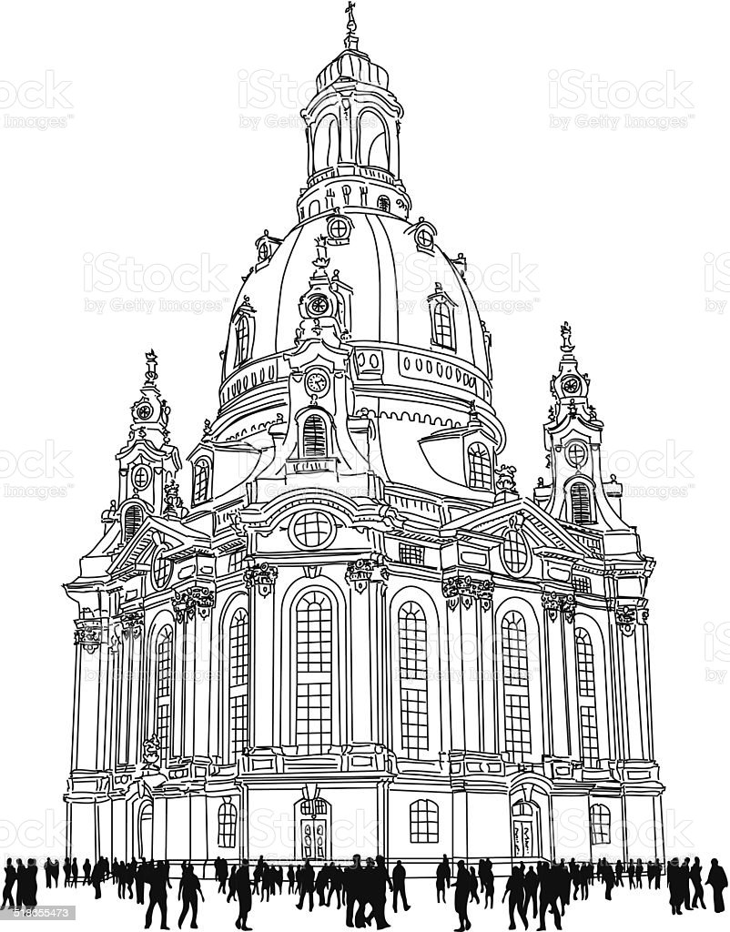 church of our lady - Dresden Germany vector art illustration