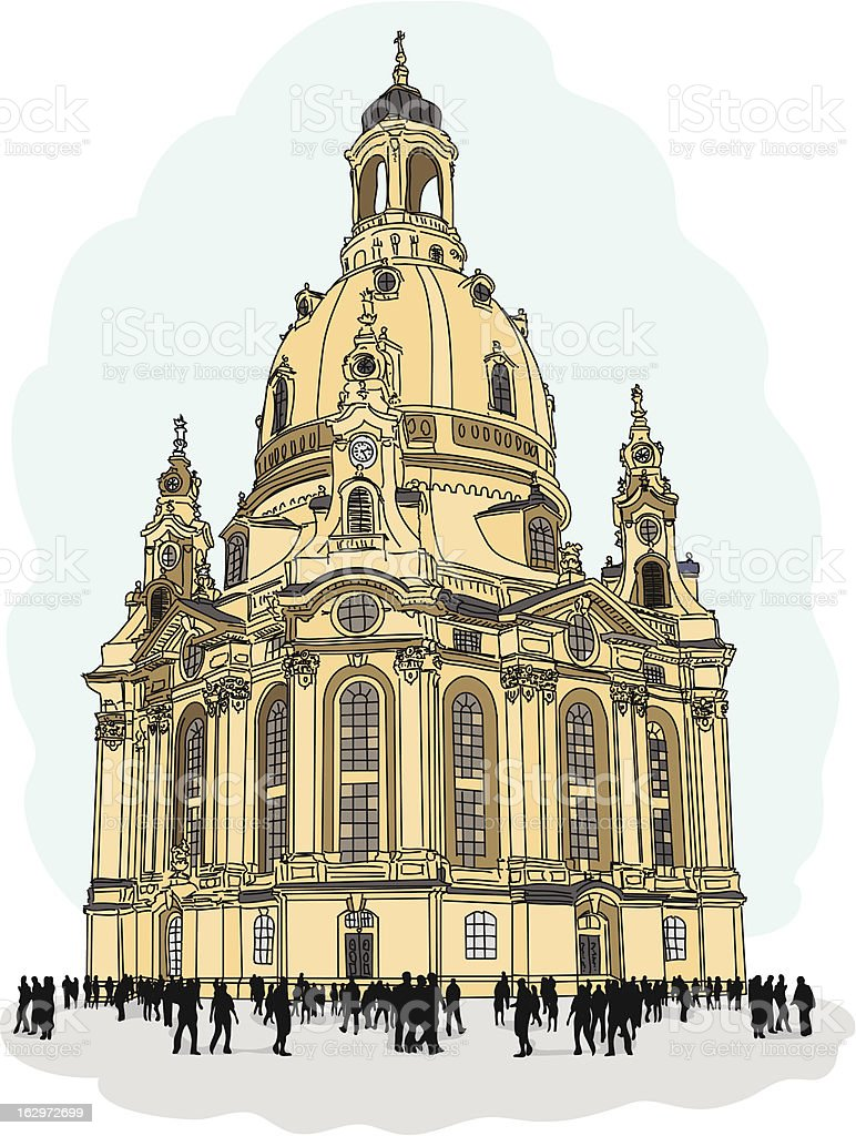 church of our lady - Dresden vector art illustration