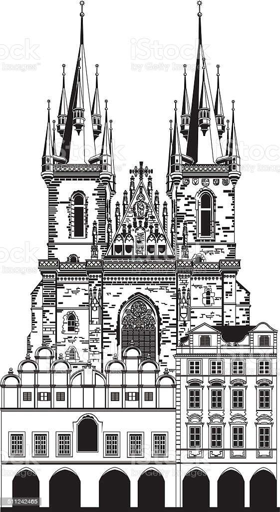 Church of Our Lady vector art illustration