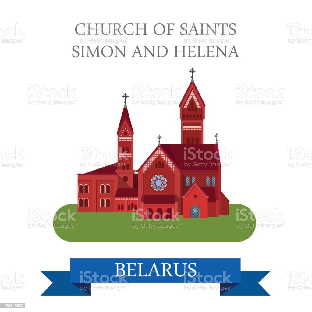 Church of Saints Simon and Helena in Minsk Belarus. Flat cartoon style historic sight showplace attraction web site vector illustration. World countries cities vacation travel sightseeing collection. vector art illustration