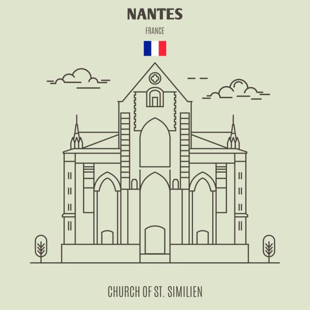 illustrations, cliparts, dessins animés et icônes de église saint-similien à nantes, france. icône de repère - nantes