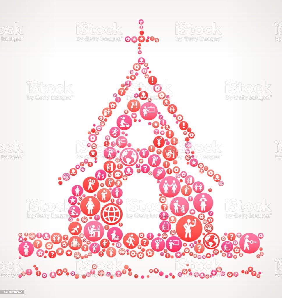 교회에 비치 여성 여성 권한 부여 아이콘 벡터 배경 - 로열티 프리 가족 벡터 아트