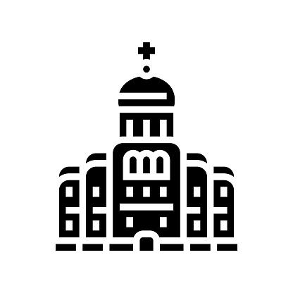 church or monastery christianity building glyph icon vector illustration