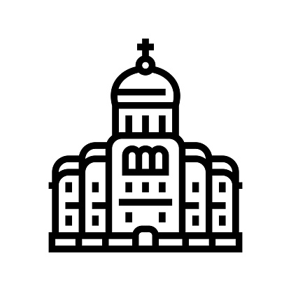 church or monastery christianity building line icon vector illustration