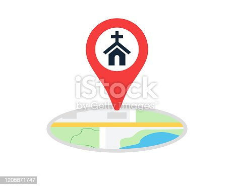 istock Church Or Place Of Worship With Navigation Location Map Pin Icon Vector Illustration 1208871747