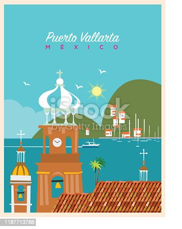 Poster of retro colors, Comic, flat illustration with a simple style. Easy color change