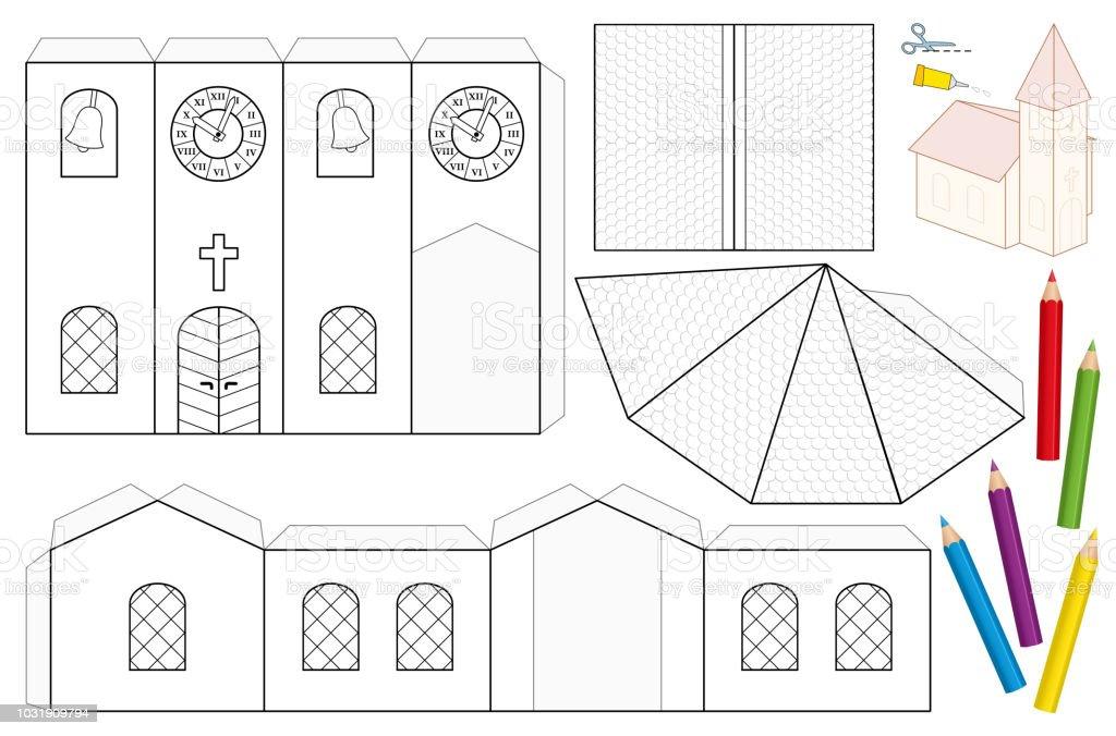 Kilise Kağıt El Sanatları Sayfası Boyanmamış Boşaltma şablon çocuk