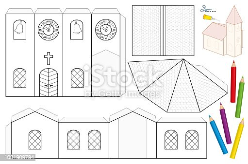 Church paper craft sheet unpainted cutout template for children for church paper craft sheet unpainted cutout template for children for coloring and making a 3d scale model church with steeple nave roofs stained glass maxwellsz