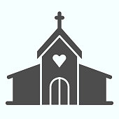 Church solid icon. Christian religion prayers building with window and cross on top. Christmas vector design concept, glyph style pictogram on white background, use for web and app. Eps 10