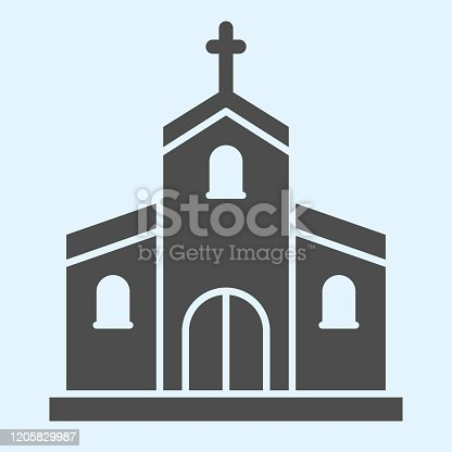 Church solid icon. Orthodox christian building with cross on top. Wedding asset vector design concept, glyph style pictogram on white background, use for web and app. Eps 10