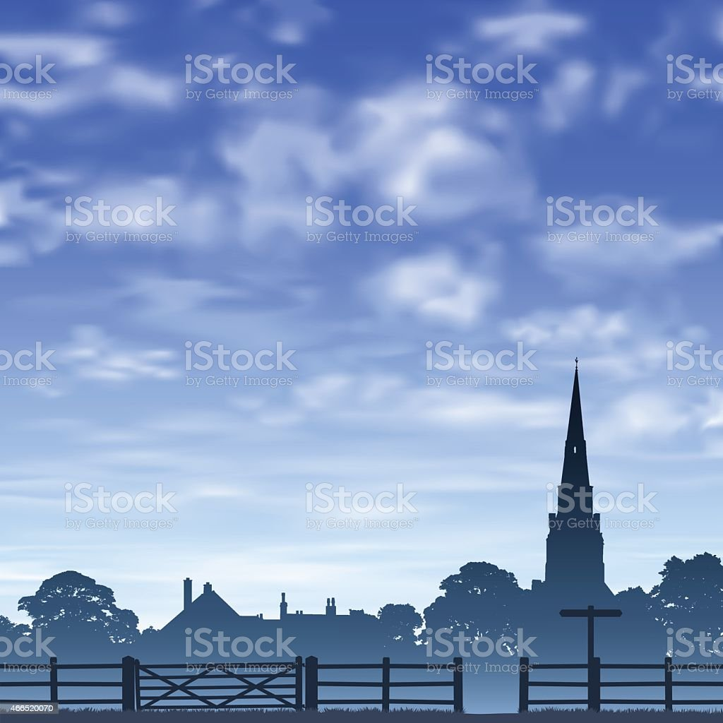Church Spire and Fence. vector art illustration