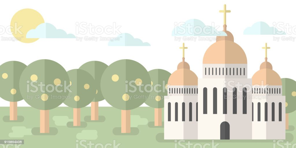 Church with domes and crosses against the backdrop of nature, forest. Vector illustration. Religion, baptism, hope vector art illustration