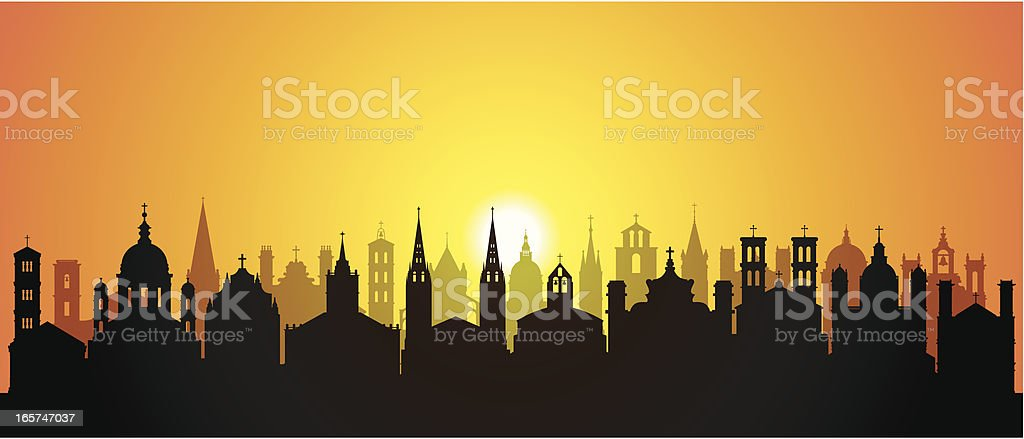 Churches (Buildings Are Detailed, Moveable and Complete) royalty-free stock vector art
