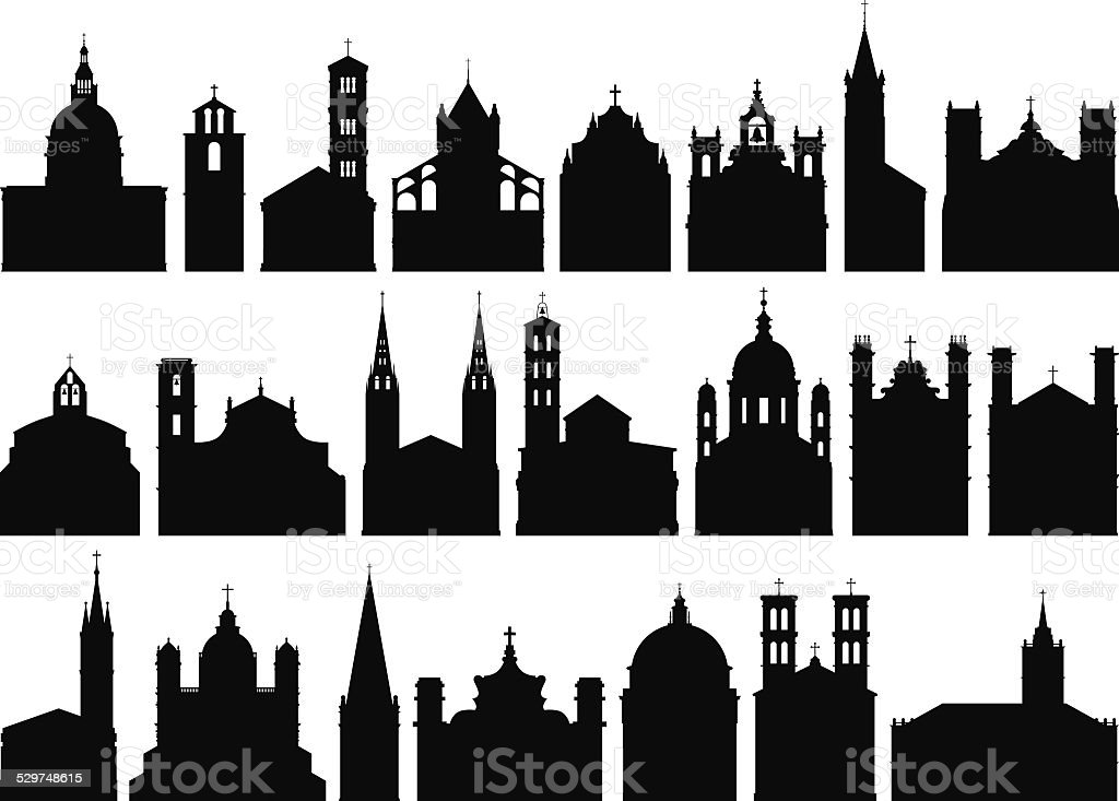 Churches vector art illustration