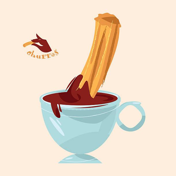 ilustraciones, imágenes clip art, dibujos animados e iconos de stock de churros and chocolate. traditional spanish food. - comida española