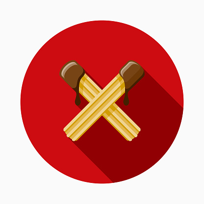 Churros Flat Design Mexico Icon with Side Shadow