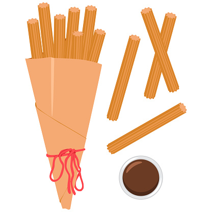Churros in packet with sauce vector cartoon illustration isolated on a white background.