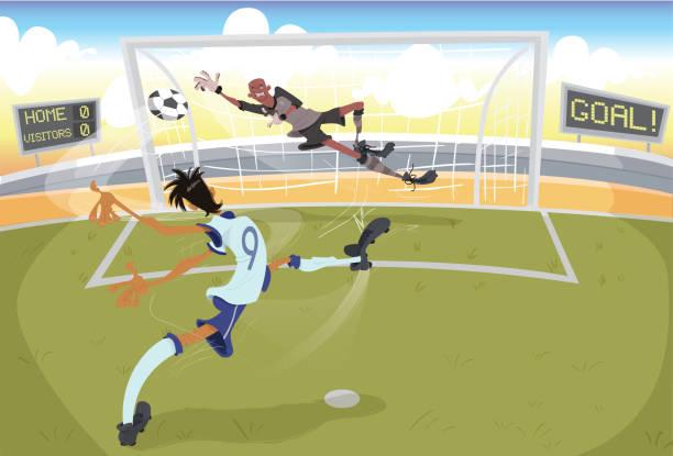 Chutando pênalti (futebol) Jogador de futebol com a camisa nove , bate um pênalti em curva e o goleiro saindo para defender em um campo de futebol. futebol stock illustrations