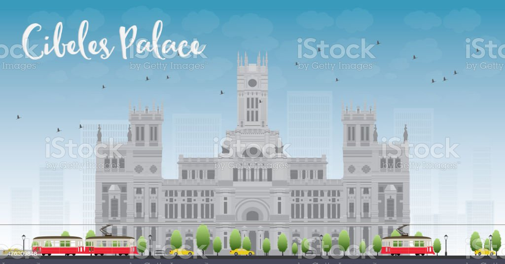 Cibeles Palace Madrid Spain Stock Illustration Download