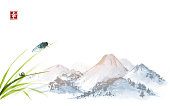 Cicada and little snail on leaves of grass. Traditional oriental ink painting sumi-e, u-sin, go-hua. Hieroglyph - happiness