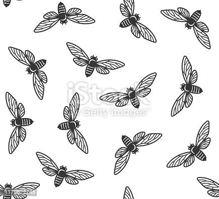 Cicada Insects Seamless Pattern with White Background. Vector illustration