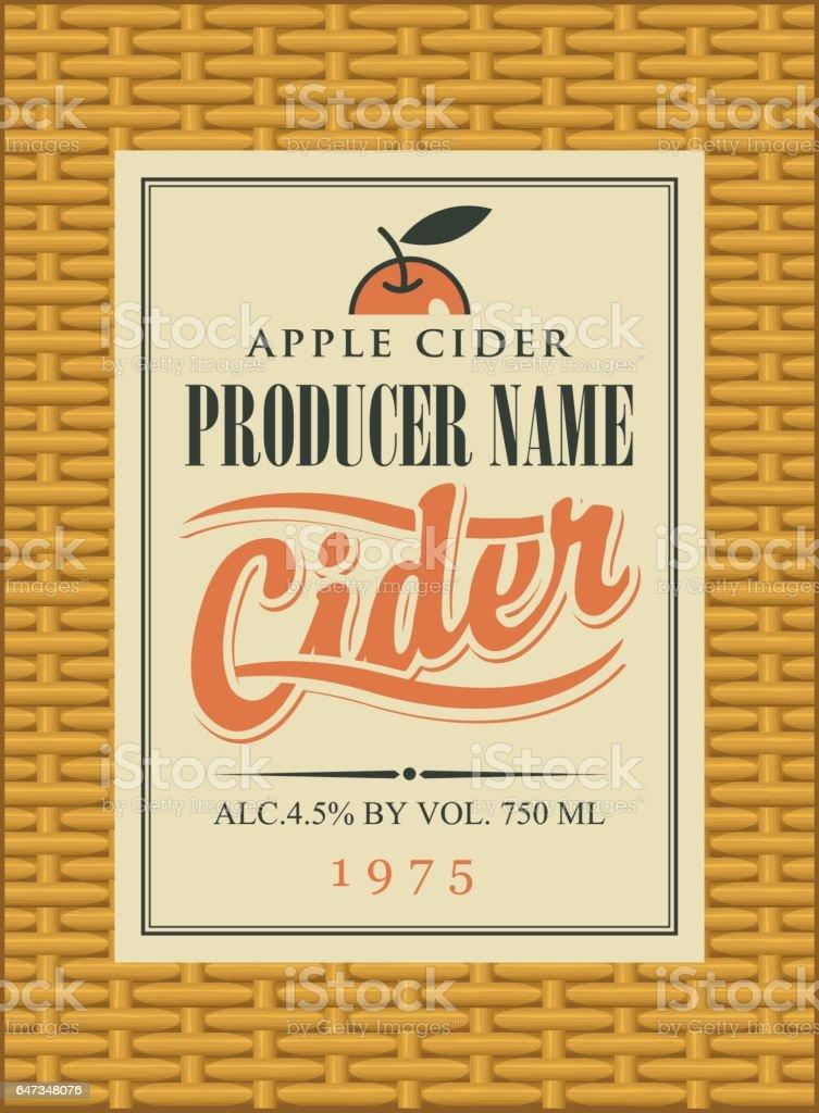 Cider label in a frame on the basket – Vektorgrafik