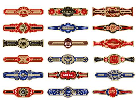 Cigar badges. Vintage labels set template for cigars vector design collection