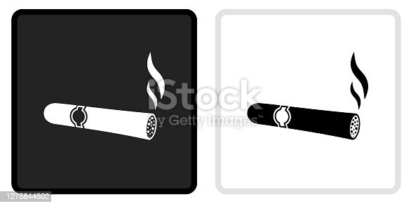 Cigar Icon on  Black Button with White Rollover. This vector icon has two  variations. The first one on the left is dark gray with a black border and the second button on the right is white with a light gray border. The buttons are identical in size and will work perfectly as a roll-over combination.