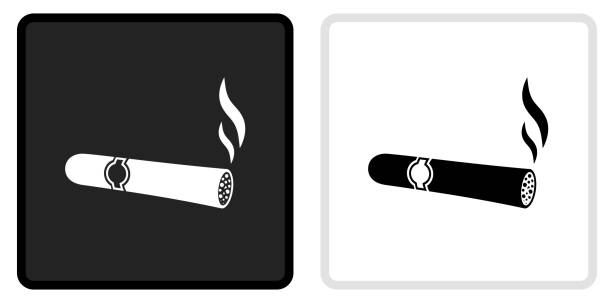 Cigar Icon on  Black Button with White Rollover vector art illustration