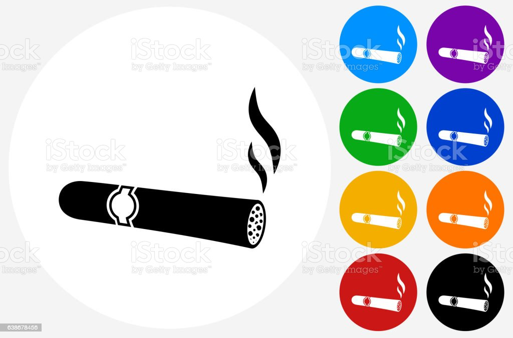 Cigar Icon on Flat Color Circle Buttons vector art illustration