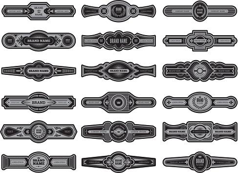 Cigar label set. Badges or vintage logos for cigar vector template