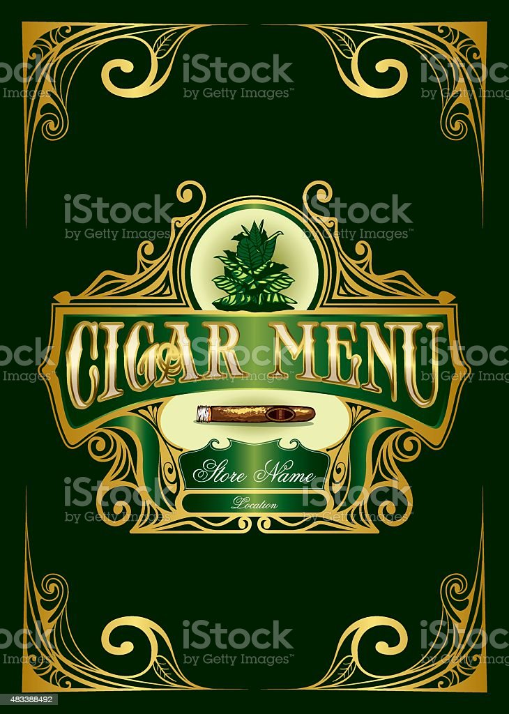 Cigar Menu List vector art illustration