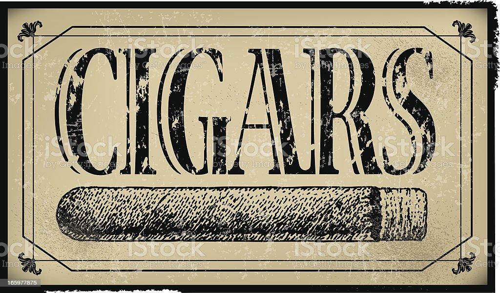 Cigar Sign Background - Retro vector art illustration