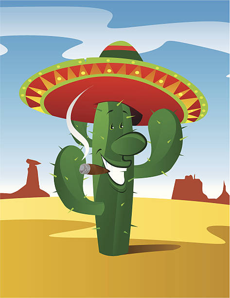 Cigar tooting mexican cactus This Mexican cactus looks full of beans! and that cheroot sure does look good. Layered for easy editing. mexican restaurant stock illustrations
