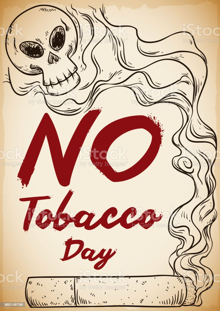 Cigarette and Smoke with Skull Promoting No Tobacco Day royalty-free cigarette and smoke with skull promoting no tobacco day stock vector art & more images of addict
