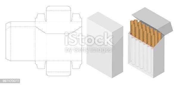 cigarette box 3d mockup with box dieline