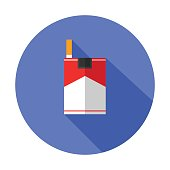 cigarette flat icon with long shadow - Vector EPS10