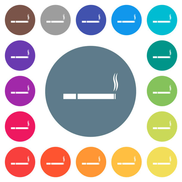 Cigarette flat white icons on round color backgrounds Cigarette flat white icons on round color backgrounds. 17 background color variations are included. deleterious stock illustrations