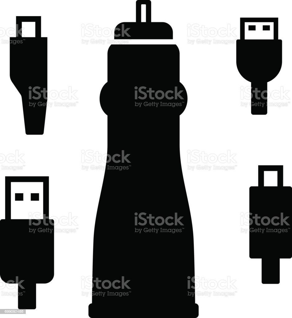 Cigarette lighter plug with different connectors vector art illustration