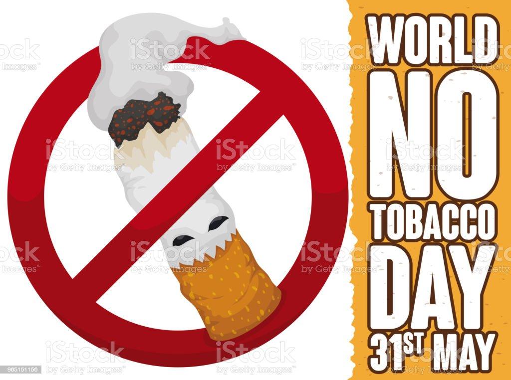 Cigarette like Monster inside Forbidden Symbol in No Tobacco Day royalty-free cigarette like monster inside forbidden symbol in no tobacco day stock vector art & more images of addict