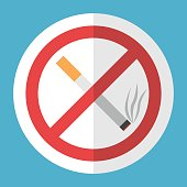 No smoking sign. Crossed cigarette in white circle with red frame on blue background. Tobacco, addiction and prohibition concept. Flat design icon. Vector illustration. EPS 8, no transparency