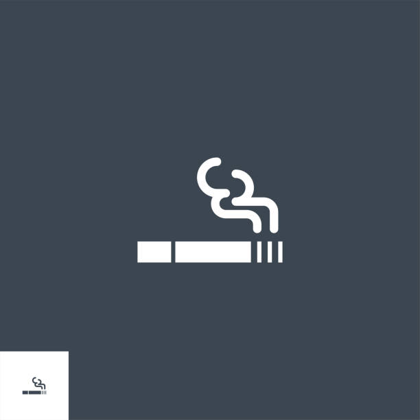 illustrazioni stock, clip art, cartoni animati e icone di tendenza di cigarette related vector glyph icon. - deadly sings