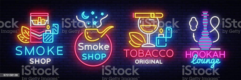 Ilustración de Colección De Cigarrillos Tienda Logo Vector De Neón ...